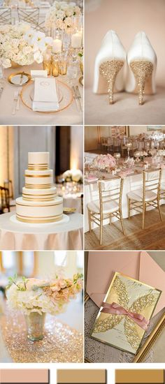 elegant peach and gold wedding color ideas