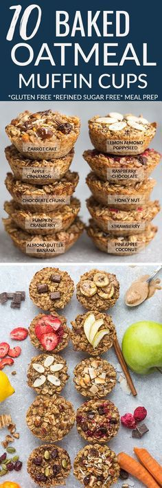 Baked oatmeal cups – Refined sugar free, gluten free & vegan. ALMOND BUTTER BANANA, APPLE CINNAMON, CARROT CAKE, CHOCOLATE CHUNK, HONEY NUT, LEMON POPPYSEED, PINEAPPLE COCONUT, PUMPKIN CRANBERRY, RASPBERRY CHOCOLATE & STRAWBERRY