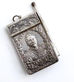 RARE Antique WW1 Silverplated Notepad Dance Card Wilhelm II Pendant Art Nouveau by Maejean Vintage, $49.99 starting bid