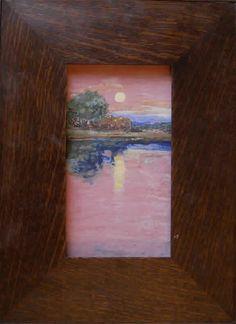 """Violet Sunset"" - Arts & Clay Company - Craftsman Style Oak Frame - Art Accardi"