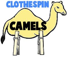 Clothespin camel. Print, cut out and attach camels. For a languages ares activity, write words on camels. Children put the camel caravan in ABC order.