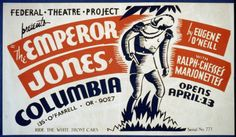 """Theater poster from 1937 for Federal Theatre Project presentation of """"The Emperor Jones"""" at the Columbia theater, """"with Ralph Chesse's marionettes,"""" showing a woodcut design of a man in military uniform holding a handgun."""