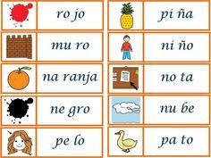 Palabras que empiezan por silaba para recortar y hacer tarjetas