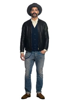 Nonnative at Roden Gray. Strong look, despite a surfeit of done-up buttons. Bomber Jacket, Strong, Buttons, Japanese, Mens Fashion, Gray, Hats, Jackets, Men's Wardrobe