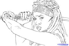 walking dead Coloring Pages | michonne colouring pages (page 2)
