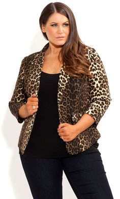 Omg! I want this so bad.. Lay by come at me!  City Chic - ANIMAL FRILL BACK JACKET - Women's plus size fashion