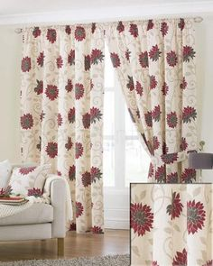 Dreams and Drapes Membury Red Lined Pencil Pleat Curtains - Wide
