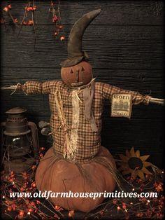 "#RS13 Primitive Pumpkin Head Scarecrow On Pumpkin ""Hoyt"" (Made In USA)"