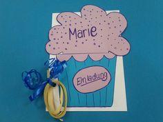 Cupcake-Einladung Kindergeburtstag (Fasching)