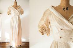 Rare Vintage 1950s Lucie Ann Silk Satin Dressing Gown
