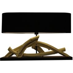 220V Original Pattern Black ShadeTable Lamp ($359) ❤ liked on Polyvore featuring home, lighting, wood lamp, wood lighting, black lights, black lamp and wooden lamps