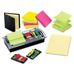 """Assorted Self-Stick Notes Package for $26.59. Includes six pads of 3 x 3 Pop-up notes in Ultra, 1"""" Red Flags, 1/2"""" arrow flags in Blue and Red, 1 pad of 4 x 6 lined notes in Canary Yellow and 3 x 3 notes in black case weighted Pop-up Note/Flag dispenser. Usually arrives in 1-2 business days. For similar office supplies, visit us online at http://www.cleansweepsupply.com"""