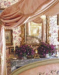 Eye For Design: Decorating Grown Up Pink Bedrooms Beautiful Bedrooms, Beautiful Interiors, Beautiful Homes, Beautiful Mirrors, Romantic Room, Romantic Homes, Romantic Bedrooms, Pink Bedrooms, Coral Bedroom