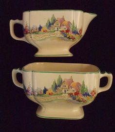Homer Laughlin Wells English Garden Cream And Sugar FREE SHIPPING  $50.00 OBO