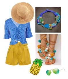 """""""Pineapple juice!!"""" by veniad ❤ liked on Polyvore featuring Topshop, WithChic and Ray-Ban"""