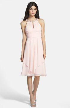 Beaded neckline chiffon dress. Feminine and elegant!