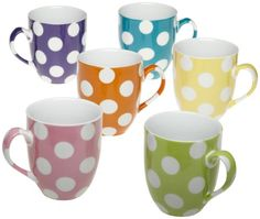 Yedi Houseware Classic Coffee and Tea White Dots Mugs Set of 6 >>> You can get more details by clicking on the image.