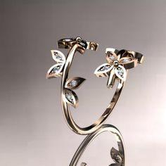 white gold diamond leaf and vine wedding ring,engagement ring,wedding band from anjaysdesigns on Etsy. Unique Diamond Engagement Rings, Engagement Ring Settings, Diamond Wedding Bands, Ring Engagement, Vine Wedding Ring, Gold Wedding, Wedding Jewelry, White Gold Diamonds, Rose Gold