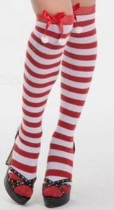 Christmas Long Knee Socks One Size Ball Decorations, Knee Socks, Red And White Stripes, Stockings, Women, Fashion, Socks, Moda, Fashion Styles