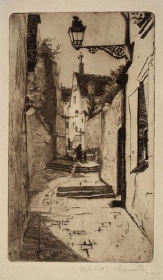 The Way of St. Francis, Chartres 1885 - 8 3/8 x 4 7/8 Intaglio Etching by Gabrielle de Veaux Clements (1885-1948) in the Smithsonian American Art Museum
