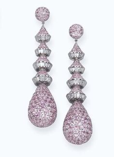 A PAIR OF PINK SAPPHIRE AND DIAMOND EAR PENDANTS, BY MICHELE DELLA VALLE