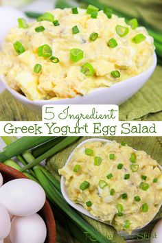 Greek Yogurt Healthy Egg Salad - No Mayo! Only 5 Ingredients. The best egg salad with greek yogurt that's still creamy. Serve this skinny egg salad with relish as an appetizer or in a sandwich or wrap for a healthy lunch idea. Easy, simple and delicious. Tastes like classic egg salad but is better for you. Clean Eating, Vegetarian, Low Carb and Low Calorie. / Running in a Skirt #vegetarian #lowcarb #lowcalorie #recipe #healthy #eggsalad #easter Healthy Egg Salad, Easy Egg Salad, Healthy Menu, Vegetarian Recipes Easy, Healthy Salad Recipes, Vegetarian Meal, Healthy Lunches, Skinny Recipes, Egg Salad Recipe Greek Yogurt