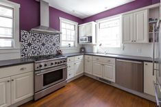 House Tour: Color and Pattern in a Rhode Island House Purple Kitchen Walls, Painting Kitchen Cabinets White, White Cabinets, Kitchen White, Kitchen Bar Lights, White Apartment, Grey Countertops, White Interior Design, Beautiful Kitchens