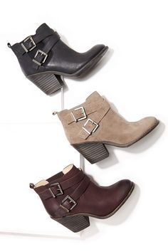 9b363de85 Leather  amp  suede booties with buckled straps Burgundy Ankle Boots