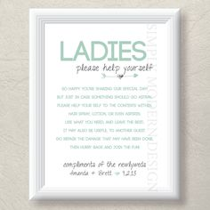 Printable bathroom basket sign, both genders,$10.50, via Etsy. Great idea to have extra toiletries for the guests in the reception hall bathrooms!