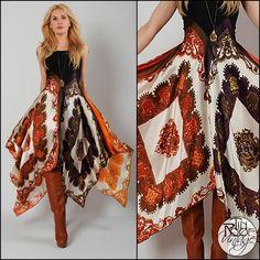 vintage 70s BOHEMIAN SCARF gypsy Maxi Dress S hippie boho print regal festival