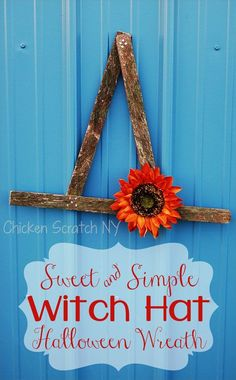 Halloween doesn't have to be all about jump scares and gore. Decorate your door with a simple witch hat wreath made an old snow fence with a cheerful sunflower and copper tack accents Holidays Halloween, Easy Halloween, Vintage Halloween, Halloween Crafts, Halloween Party, Halloween Witches, Halloween Wreaths, Outdoor Halloween, Snow Fence