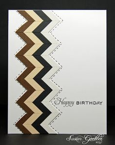 Wonderful chevron card with link to Jennifer McGuire's tutorial for making the chevron strip.