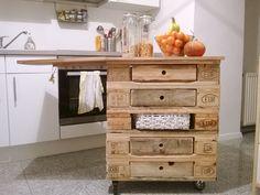 Pallet kitchen island #Kitchen, #PalletFurniture