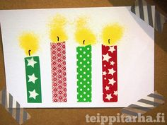 DIY Christmas cards with washi tape Preschool Christmas Crafts, Christmas Activities For Kids, Holiday Crafts, Holiday Ideas, Homemade Christmas Cards, Homemade Cards, Christmas Holidays, Christmas Candle, Christmas Competitions