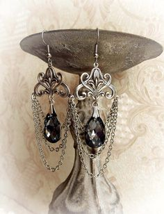 Chandelier silver Swarovski crystal earrings by MidnightVision
