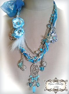 shabby chic soft braided necklace from antique handmade lace trims, silk 100%, beads crystal.