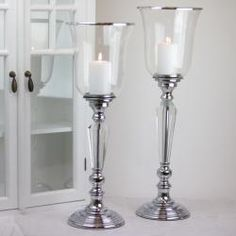 Golvljusstake Kristall Lyx 57 cm - silver i den romantiska lantliga stilen.