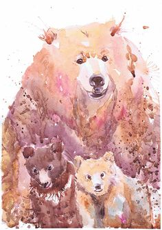 Bear art grizzly bear painting bear with cub woodland by ValrArt