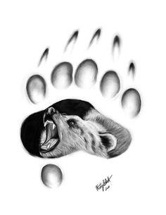 Grizzly Bear Paw with Bear | Grizzly Bear Paw Sketch Bear paw kristy blunt