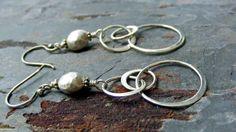 Sterling Silver Hoop Dangle Earrings with Matte Sterling Bead Dangle Earrings. $28.00, via Etsy.