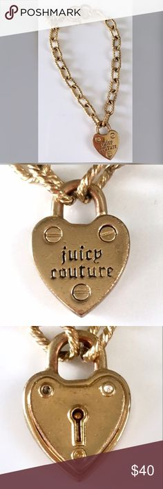 NEW JUICY COUTURE Heart Starter Bracelet (Gold) Heart Drop Adjustable Starter Bracelet (Gold) - This is the foundation piece for creating your very own one-of-a-kind Juicy Couture charm bracelet! Charms sold separately. Gold-plated lock heart charm. 7 1/2 with a spring ring closure. Packaged in a Juicy Couture gift box. I have. Ever worn but it has been sitting in the little box for a while and has been moved around a lot so it's a little discolored. Feel free to ask questions 🤗 Juicy…