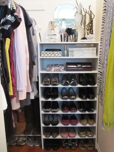 Position a tall, narrow bookshelf below a hanging mirror, and you have a mini vanity that doubles as serious shoe storage. This blogger saved some space at the top for clutches, magazines and necklaces. See more at Freckles Chick »