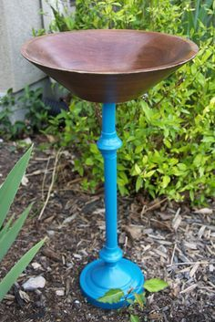Bird baths made from old lamps. These are adorable!