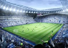 """English Premier League club Tottenham Hotspur has revealed new images of its forthcoming home at White Hart Lane, which it has billed as """"the most unique sports and entertainment destination . London Football, Uk Football, Football Stadiums, Football Field, England Football, American Football, European Football, Stadium Of Light, White Hart Lane"""