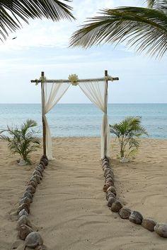 Beach Wedding Ideas - Gold & Champagne, Glam Beach Destination Vow Renewal in Antigua: Sonia & Chris Simple Beach Wedding, Perfect Wedding, Dream Wedding, Gold Beach Wedding, Small Beach Weddings, Sunset Beach Weddings, Quirky Wedding, Blue Weddings, Second Weddings