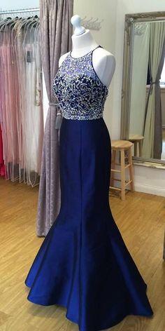 0de5fc55250 Sparkly Royal Blue Mermaid Beaded Prom Dress 2019 Custom Made Satin  Beadings School Dance Dresses Fahion Long Evening Party Dresses SPD040