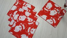 Christmas Cloth Napkins Santa on Red Cocktail Lunch 6 Inch Set of 5