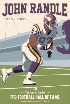 John Randle, Vikings poster artwork for the US Bank Stadium Collection by Steve Thomas.