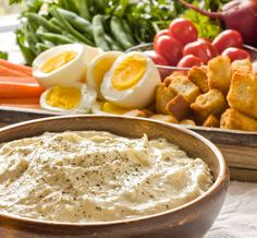 Spring Recipe: Creamy Parmesan Dip Recipes from The Kitchn  Creamy Parmesan Dip  Yields: 2 heaping cups    2 cups mayonnaise, store bought or homemade  1/2 cup grated Parmesan cheese  2 cloves garlic, smashed and rubbed into a paste  1 teaspoon Dijon mustard  1/2 teaspoon anchovy paste (optional)  Zest and juice from 1 lemon  Splash of Worcestershire sauce  Freshly ground black pepper,