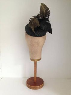 Black leather & gold lame feathered headpiece by Murley & Co Millinery #HatAcademy #millinery